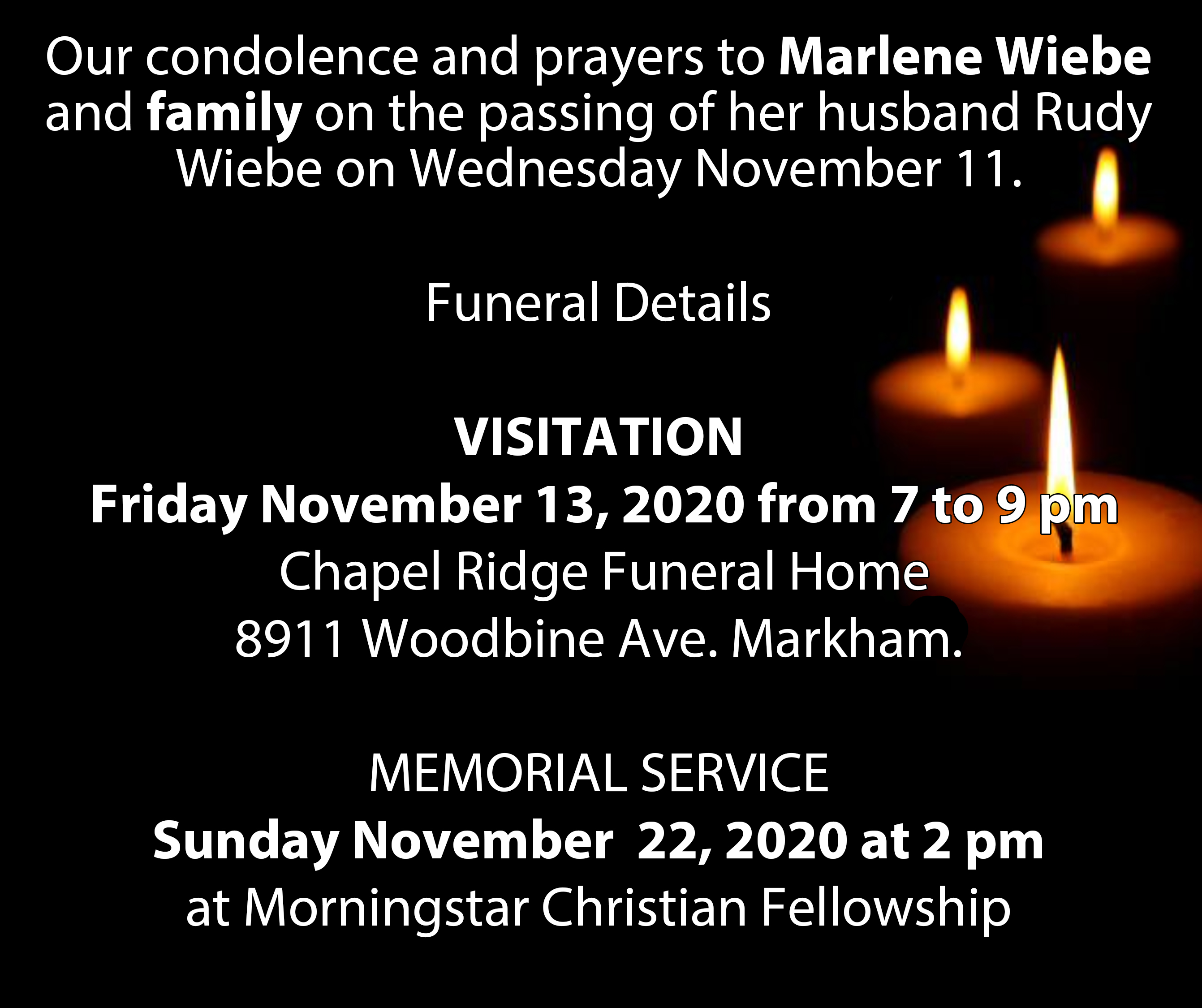 Rudy Wiebe Funeral Details